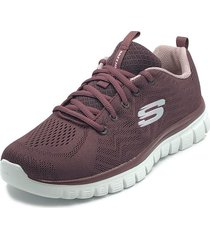 tenis lifestyle skechers graceful get connected - vinotinto