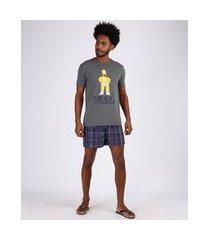 pijama masculino homer simpsons estampado xadrez manga curta cinza mescla
