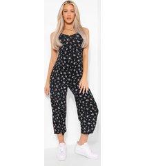 zwangerschap bloemenprint culotte jumpsuit, black