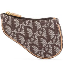 christian dior pre-owned trotter saddle pouch - brown