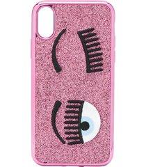 chiara ferragni flirting embroidered iphone xs case - pink