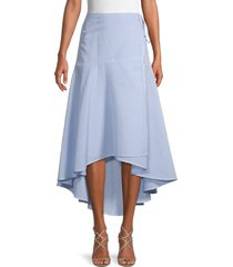 ganni women's textured high-low cotton-blend wrap skirt - serenity blue - size 38 (6)