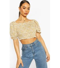 woven dusty shirred crop top, yellow