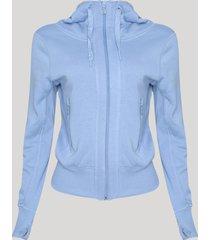 blusão feminino em moletom com capuz azul