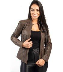 jaqueta de couro np couros com matelassê marrom