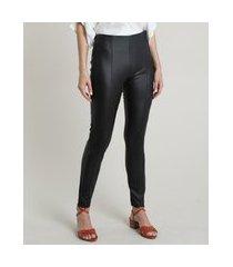 calça legging feminina cintura alta resinada com friso preta