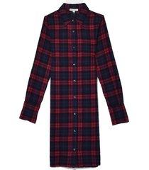 standard plaid midi shirt dress in navy/red