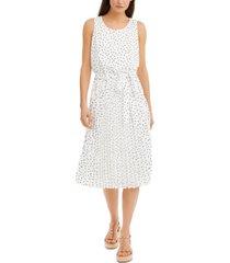 inc polka-dot pleated chiffon midi dress, created for macy's