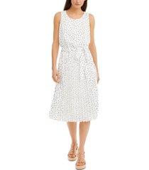 inc polka-dot pleated chiffon midi dress, created for macy's