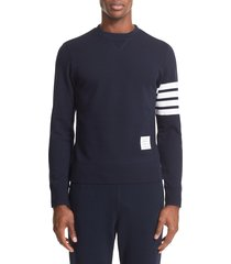 men's thom browne stripe sleeve sweatshirt, size 2(m) - blue