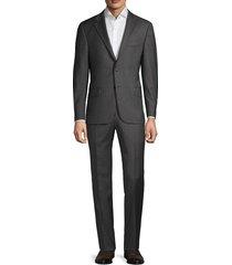 hickey freeman men's regular-fit plaid wool suit - dark grey - size 46 r