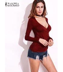 zanzea resorte de las mujeres blusas camisas con cuello en v bajo la manga larga del corte placas radiantes flaca delgada strech más el tamaño de suéter rojo de vino -rojo