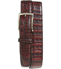 men's big & tall torino caiman leather belt, size 46 - black cherry