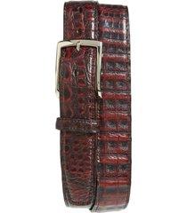 men's big & tall torino caiman leather belt, size 46 - black cherry