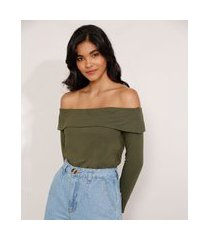 blusa básica ombro a ombro manga longa verde militar