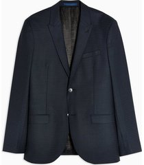 mens premium navy gingham check skinny fit single breasted blazer with peak lapels