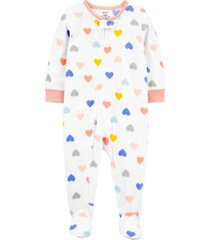 carter's baby girl 1-piece heart fleece footie pjs