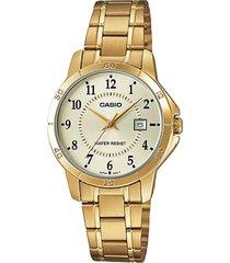 reloj casio ltp-v004g-9b de mujer-dorado