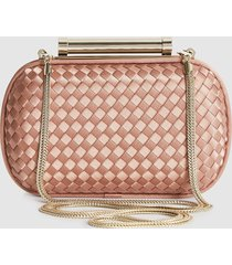 reiss belsize - satin clutch bag in nude, womens