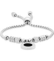 steeltime stainless steel drawstring bracelet with enamel greek key design medallion centered