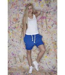 button short pants niebieskie dresowe szorty