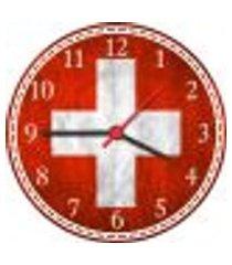 relógio de parede bandeira da suíça países decorações