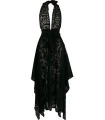 emilio pucci floral sheer beach dress - black