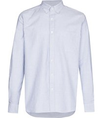 beams plus vertical-stripe long-sleeve shirt - white