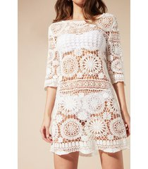 calzedonia crochet mini dress woman white size l