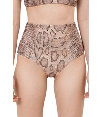 women's mara hoffman lydia high waist bikini bottoms, size x-small - beige