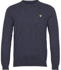 cotton knitted crew neck jumper gebreide trui met ronde kraag blauw lyle & scott