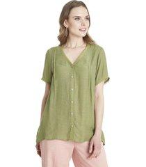blusa con botones verde lorenzo di pontti