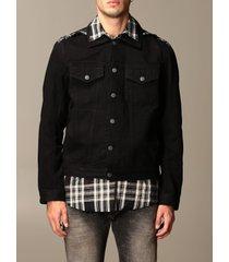 diesel jacket diesel denim jacket with tartan shirt