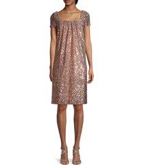 reem acra women's sequin squareneck dress - rose gold - size 12