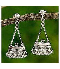 sterling silver dangle earrings, 'pretty purse' (thailand)