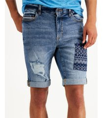 "sun + stone men's nostrad patched denim 10"" shorts, created for macy's"