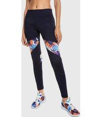 legging desigual tone to tone azul - calce ajustado