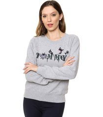 buzo gris tommy hilfiger tommy floral sweatshirt ls