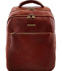 tuscany leather tl141402 phuket - zaino porta notebook in pelle 3 scomparti marrone