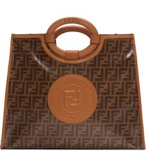 fendi medium runaway logo shopper - brown