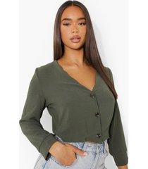 blouse met knoop detail, khaki
