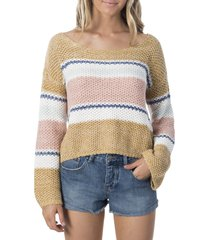 women's rip curl sunsetters stripe sweater, size small - brown