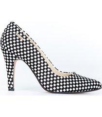 skórzane szpilki zapato 035 cz. białe kwadraty