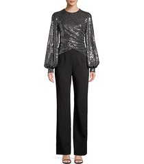 black halo women's uno 2-piece sequin puff-sleeve top & crepe pants jumpsuit - disco black - size 4