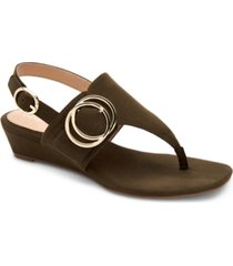 alfani women's tatumm buckle thong wedge sandals, created for macy's women's shoes