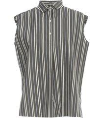 aspesi striped flared shirt w/s 3 buttons