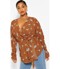 plus leopard floral print wrap top, brown