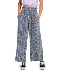 bp. paperbag waist pants, size x-large in black- blue maisey ditsy at nordstrom