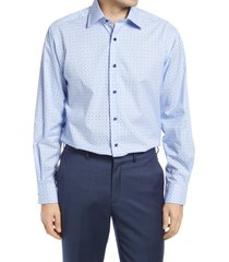 men's big & tall david donahue regular fit gingham dress shirt, size 16 - 36/37 - blue