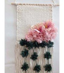 makatka z kwiatami makrama zwisające kwiaty